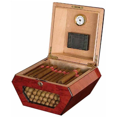 Image of Don Salvatore Cuban Wheel Humdor - 50 Cigar Count Glass Display - Shades of Havana
