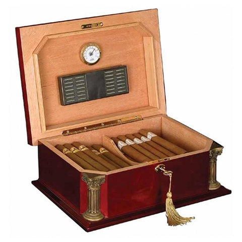 Image of Don Salvatore Neo Classic - Antique Style 25 Cigar Humidor - Shades of Havana
