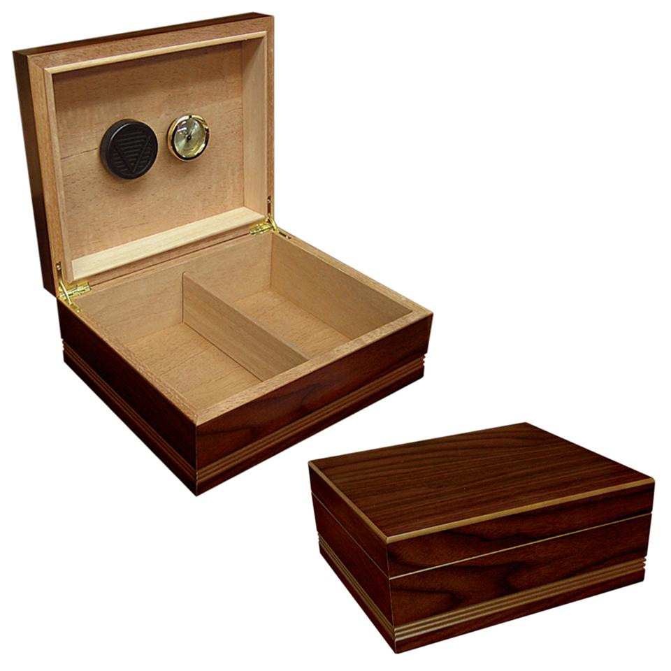 Duke 25 Cigar Count Humidor | Routed Edge Wood Finish - Shades of Havana