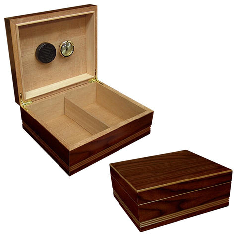 Image of Duke 25 Cigar Count Humidor | Routed Edge Wood Finish - Shades of Havana