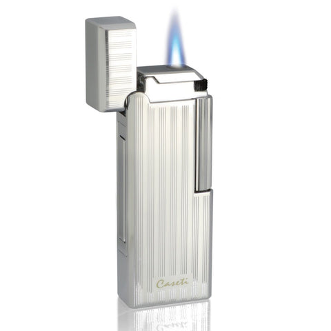 Echelon - Flint Jet Lighter - Chrome Plated Vertical Lines - Caseti - Shades of Havana