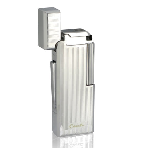 Image of Echelon - Flint Jet Lighter - Chrome Plated Vertical Lines - Caseti - Shades of Havana