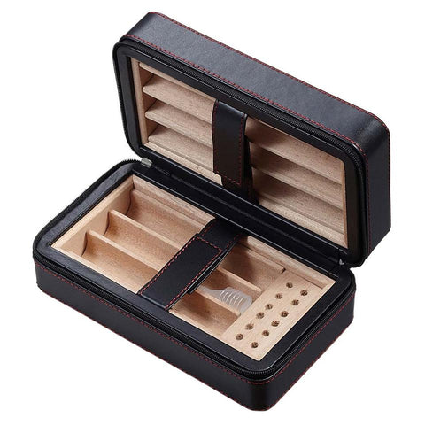 Eden Travel Humidor 6 Cigar Count | Black - Shades of Havana