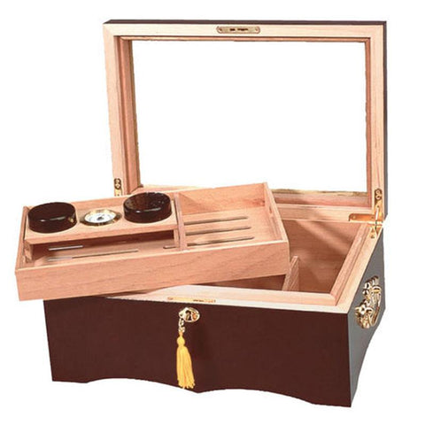 Image of El Rey Glass Top Humidor 150 Cigar Count - Shades of Havana