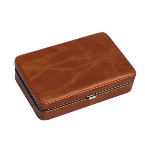 Image of Executive Brown Leather 5 Count Cigar Case With Cutter - Shades of Havana