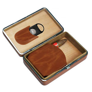 Executive Brown Leather 5 Count Cigar Case With Cutter - Shades of Havana
