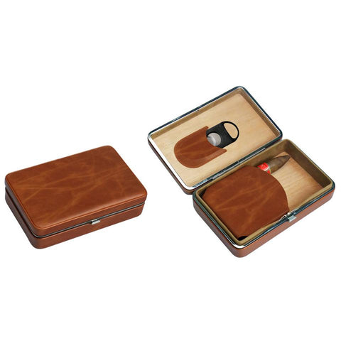 Executive Brown Leather Cigar Case With Cutter - Holds 5 Cigars - Visol