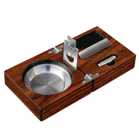 Image of Folding Ashtray Set - High Gloss Walnut With Accessories - Prestige Import Group - Shades of Havana