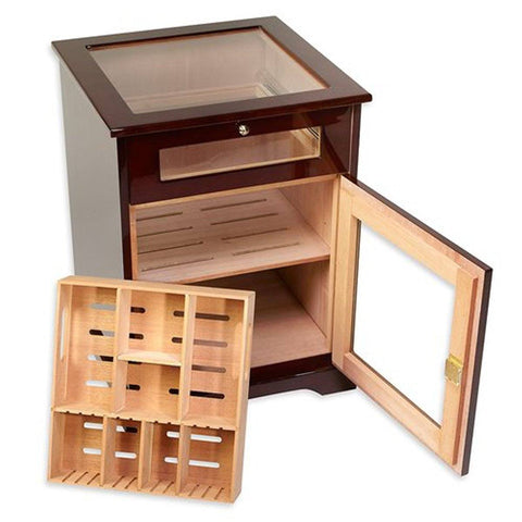 Image of Galleria End Table Humidor Cabinet 600 Cigar Count - Shades of Havana