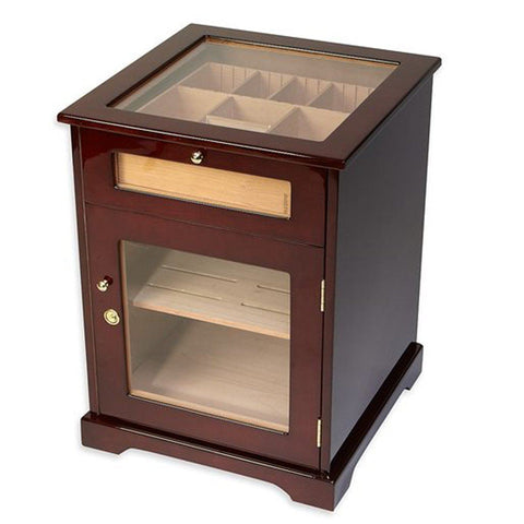 Galleria - End Table Cabinet Humidor - Holds 600 Cigars - Shades of Havana
