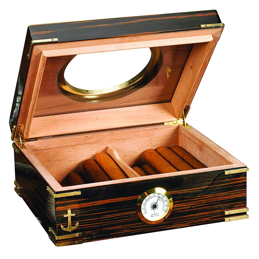 Gangway Humidor Supreme 50 Cigar Count Antique Humidor - Shades of Havana