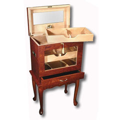 Geneve Humidor Cabinet 500 Cigar Count | Antique Style End Table Humidor