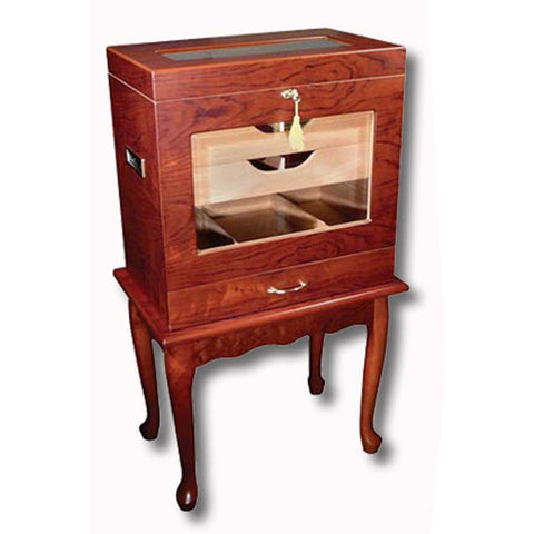 Image of Geneve Humidor Cabinet 500 Cigar Count | Antique Style End Table Humidor - Shades of Havana