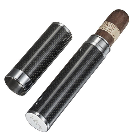 Grayson Carbon Fiber 1 Cigar Tube Case - Shades of Havana