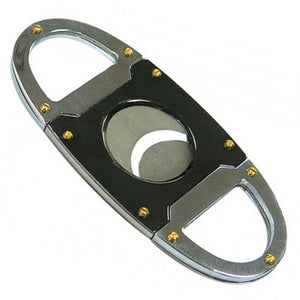 Gun Metal & Chrome Guillotine Cutter - 56 Ring Gauge - Shades of Havana