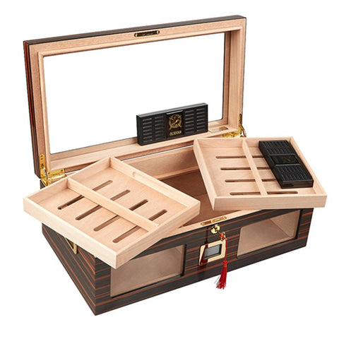 Image of Gurkha Lugano Series Status Glass Top Desktop Humidor 150 Cigar Count - Shades of Havana