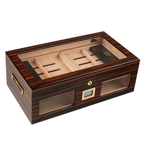 Gurkha Lugano Series Status Glass Top Desktop Humidor 150 Cigar Count - Shades of Havana