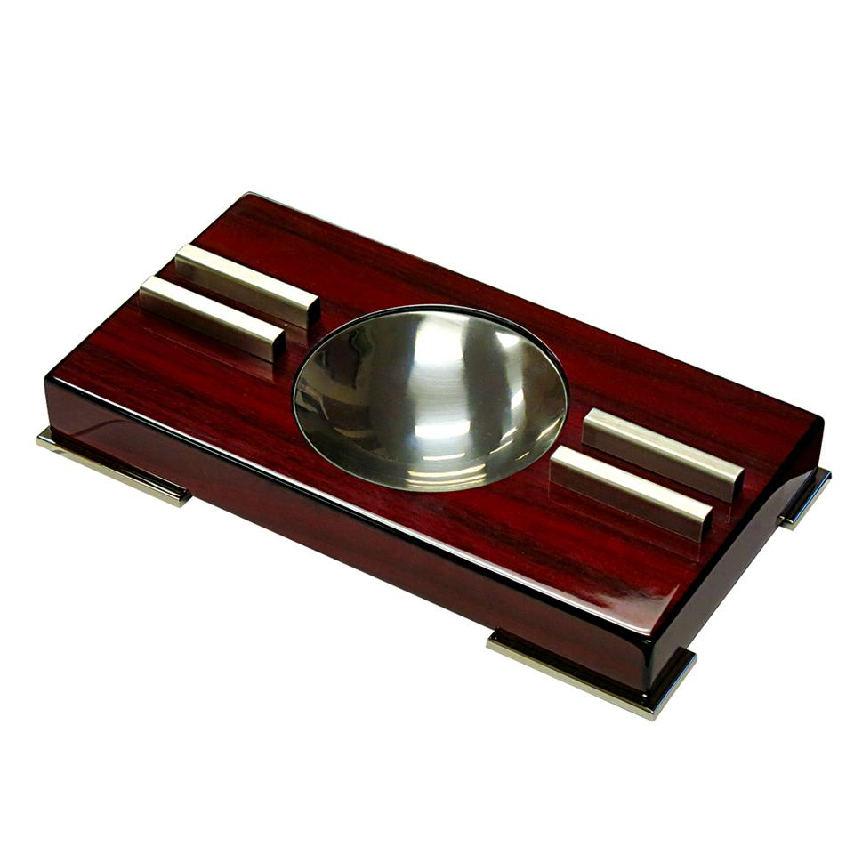 High Gloss Contemporary Art Deco Ashtray on Polished Feet - Shades of Havana
