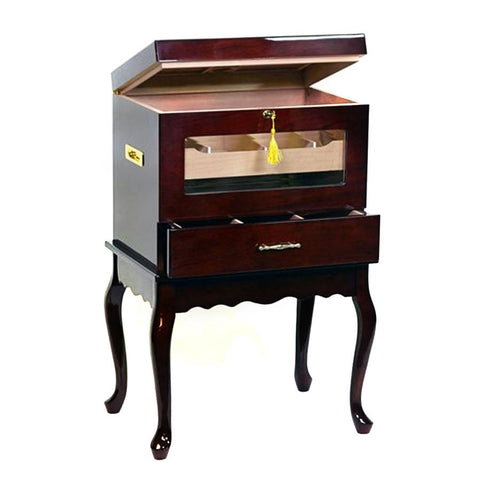 Image of Indulgence End Table Aging Humidor - 500 Cigar Count Rosewood Finish - Shades of Havana