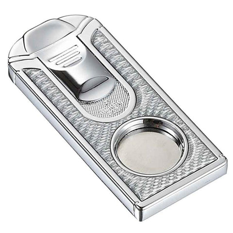 Image of Razor White Carbon Fiber Stainless Steel Cigar Cutter - Shades of Havana