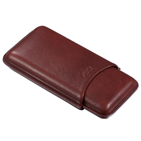 Legend Burgundy Genuine Leather 3 Cigar Case