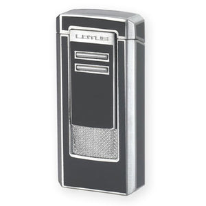 Lotus L46 - Gun & Polished Chrome Triple Flame Lighter with Punch - Shades of Havana