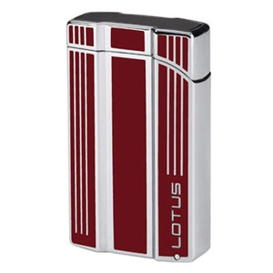 Lotus L47 Intrepid - Red & Polished Chrome Twin Flame Lighter with Punch - Shades of Havana