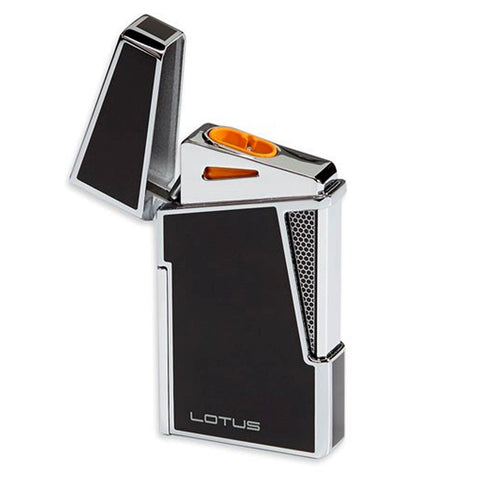 Lotus L48 Apollo - Black & Polished Chrome Dual Flame Lighter with Punch