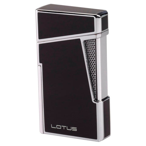 Image of Lotus L48 Apollo - Black & Polished Chrome Dual Flame Lighter with Punch - Shades of Havana