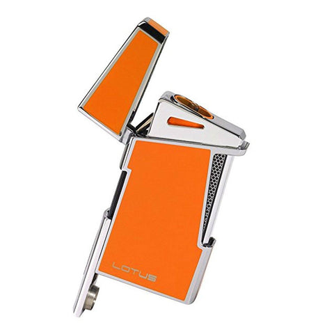 Lotus L-48 Apollo - Orange & Polished Chrome Dual Flame Lighter with Punch