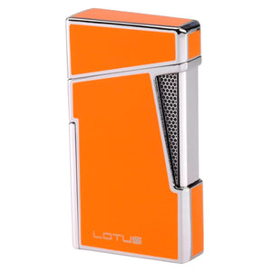 Lotus L-48 Apollo - Orange & Polished Chrome Dual Flame Lighter with Punch - Shades of Havana