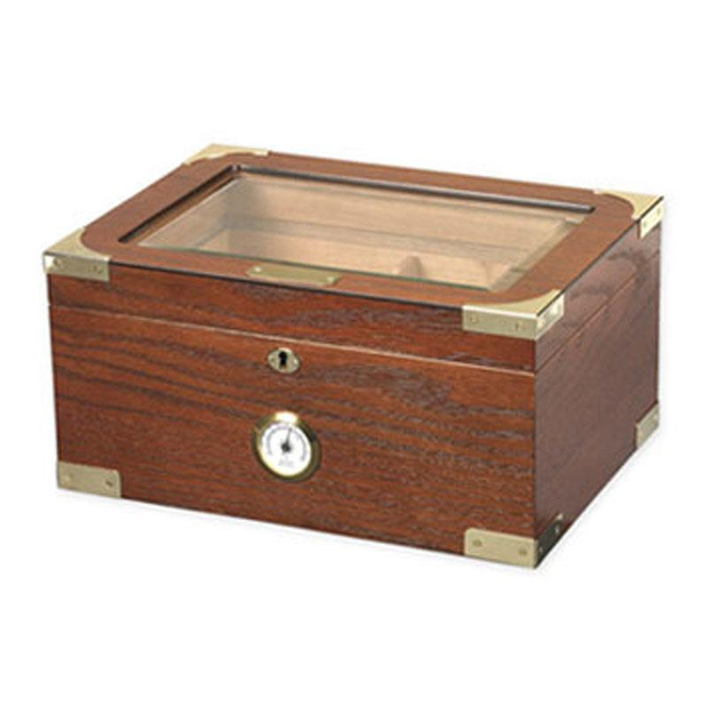 Milano Glass Top Humidor 100 Cigar Count - Shades of Havana