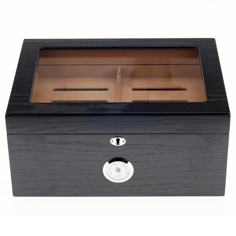 Milano Glass Top Humidor 100 Cigar Count | Black Oak