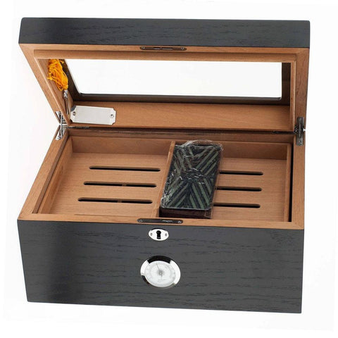 Milano Glass Top Humidor 100 Cigar Count | Black Oak - Shades of Havana
