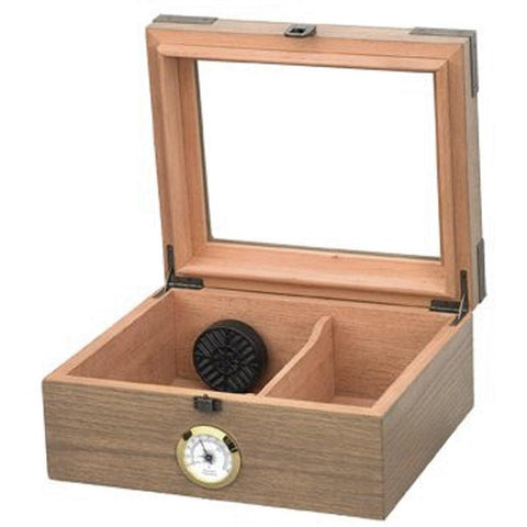 Image of Newport Glass Top Humidor 25 Cigar Count | White Oak Finish - Shades of Havana