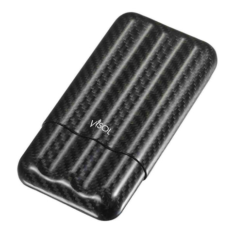 Night II - Carbon Fiber Larger Cigar Case - 3 Finger - Visol - Shades of Havana