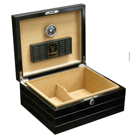 Image of Onyx Black Humidor 50 Cigar Count | High Gloss Finish - Shades of Havana