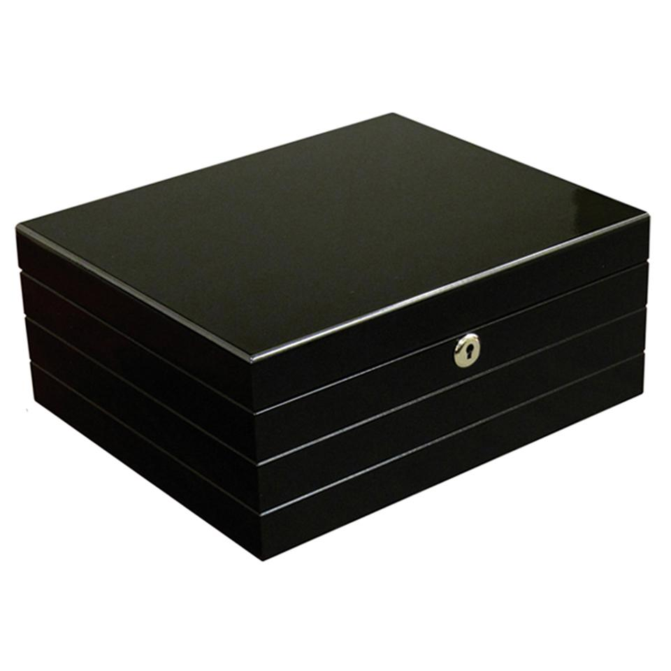 Onyx Black Humidor 50 Cigar Count | High Gloss Finish - Shades of Havana