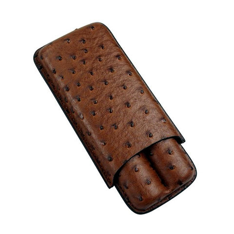 Image of Ostrich - 2 Cigar Leather Case - Prestige Import Group - Shades of Havana