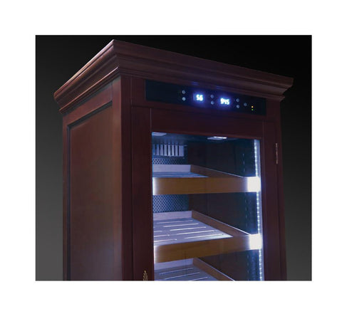 REAGAN - Cigar Humidor Cabinet - Holds 4000 Cigars - Rich Dark Cherry Finish - Electric Climate & Humidity Controlled Cabinet (Dual Zone) - Shades of Havana