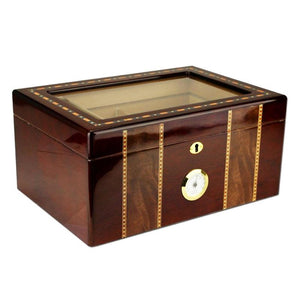 Pompeii Glass Top Humidor 100 Cigar Count | Cherry Finish - Shades of Havana