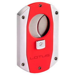 Lotus Prestige 60 Gauge Guillotine Cigar Cutter (Rubberized Red & Chrome) - Shades of Havana