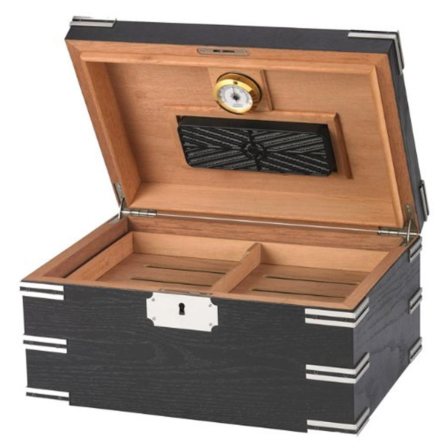 Ironside Black Humidor 100 Cigar Count - Shades of Havana