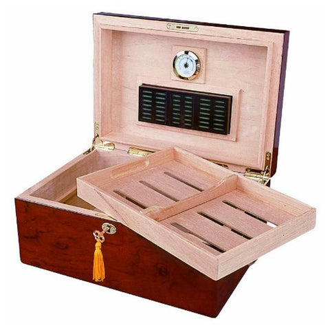 Deauville 100 Cigar Count Humidor | Leaf Inlay Maple