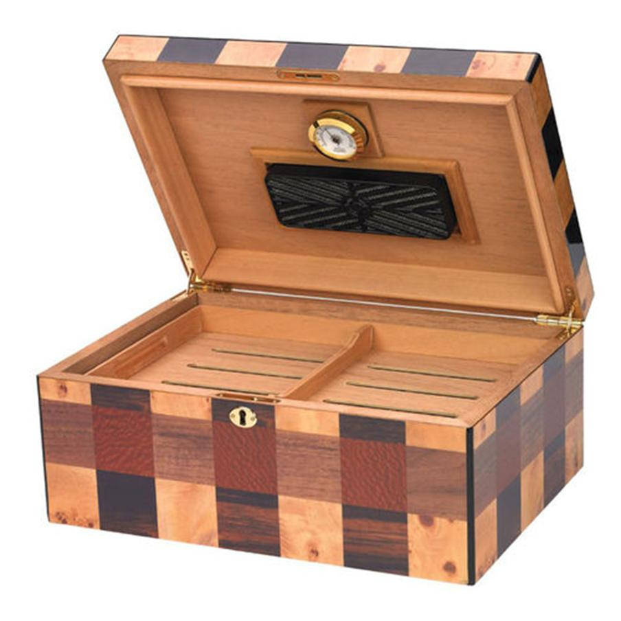 Othello Humidor Checkerboard 100 Cigar Count - Shades of Havana