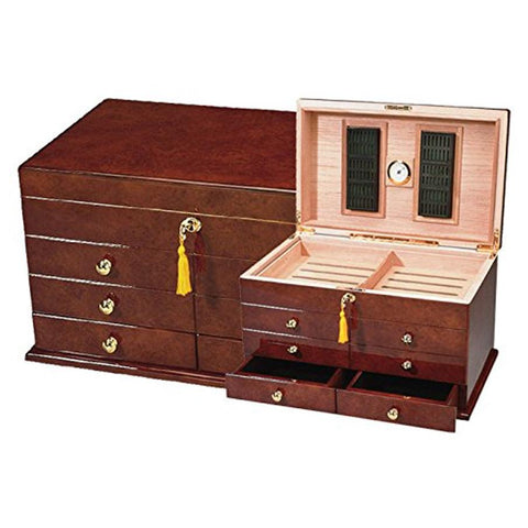 Image of Ravello Antique Style Humidor 300 Cigar Count | Drawers - Shades of Havana