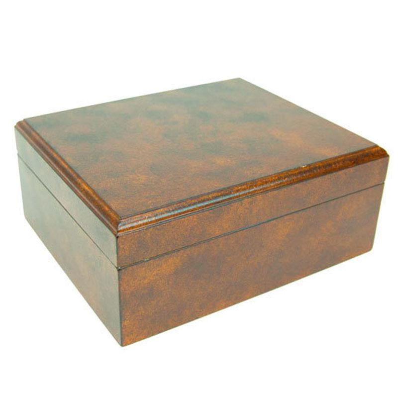 Rawhide 50 Cigar Humidor With Crackel Finish - Shades of Havana