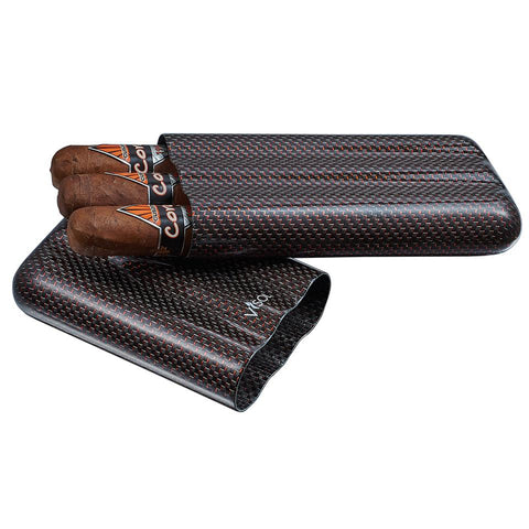 Image of Red Kevlar & Carbon Fiber 3 Finger Cigar Case - Shades of Havana