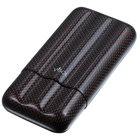 Red Kevlar & Carbon Fiber 3 Finger Cigar Case