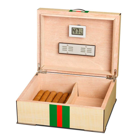 Regio - Red and Green Striped Humidor - Holds 75 Cigars - Visol
